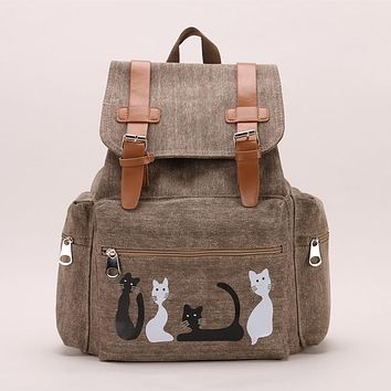 Canvas Cat Animals Backpack