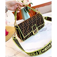 Bunchsun Fendi Bag BAGUETTE Double F letter baguette bag shoulder bag Fluorescent green edge