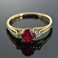 Oval Ruby 2-Diamond Cathedral Setting Ring Size 8.5 10K Yellow Gold