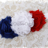 Baby Headband, Red White Blue, Frayed Rosette, Elastic Newborn Infant Headband, Baby's First Fourth of July, 4th