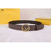 Fendi 2018 new street fashion men and women models double F printing smooth buckle belt #2