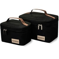 Hango Insulated Lunch Box Cooler Bag (Set of 2 Sizes), Black