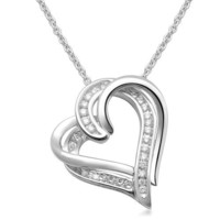 Sterling Silver and Diamond Double-Heart Pendant Necklace (1/10 cttw, I-J Color, I2-I3 Clarity)