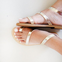 Sandals - Genuine Greek Style Leather  Sandals in Gold color