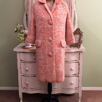 Long Sweater Coat, Thick Heavy Sweater, Orange & White Coat, LM/L/XL, Warm Winter Sweater, Hand Knitted Sweater Coat, Fully Lined in Satin