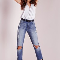 Missguided - Riot Destroyed Skinny Jeans Stonewash Blue