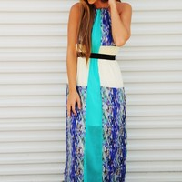 Point To Her Maxi Dress: Aqua/Multi