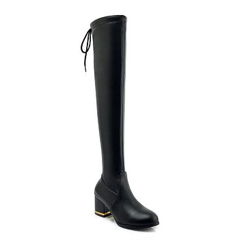 Tall Boots Chunky Heels Winter Shoes for Woman 4538