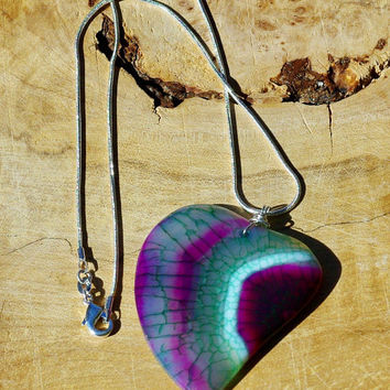 Turquoise Pink and Purple Heart ~  Dragon Vein Agate ~ Stone Pendant ~ Sterling Silver Chain ~ Bohemian Necklace ~ One of a Kind ~ OOAK
