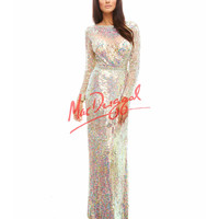 Cassandra Stone by Mac Duggal 4099A Long Sleeve Sequin Nude Gown 2015 Prom Dresses