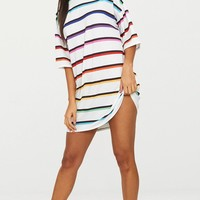 White Rainbow Stripe T Shirt Dress