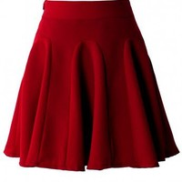 Red High Waist Skater Skirt - Bottoms - Retro, Indie and Unique Fashion