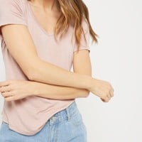 Light Pink V-Neck Curved Hem Tee