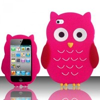 ITOUCH IPOD TOUCH 4 Gen GEL SKIN CASE COVER 3D FAT PINK OWL ANIMAL ZOO
