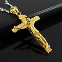 Stainless Steel Jesus Christ Crucifix Cross Mens Pendant Necklace (Gold Color)