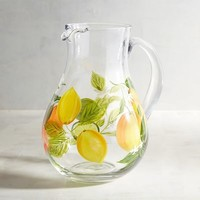 Citrus Lemon Painted Pitcher