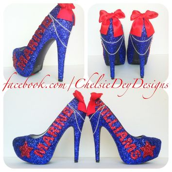 USMC Blue and Red Glitter High Heels, Marine Corps Sparkly Pumps
