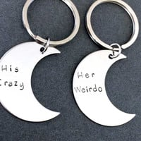 His Crazy Her Weirdo Moon Keychains, Couples Keychains,Boyfriend Girlfriend Gift , Anniversary Gift