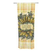 "Nick Atkinson ""Sunflower Sunshine"" Yellow Gold Decorative Sheer Curtain"