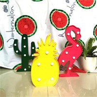 Cute 3D Flamingo Pineapple Cactus Night Light Plastic LED Lamp Lights Kids Room Bedroom Bedside Lamp Party Wedding Home Decor