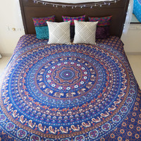 Folkulture Tapestry - Bohemian Wall / Dorm Room Tapestry - Hippy / Hippie Bedspreads for Bedroom - Indian Elephant Tapestry Wall Hanging / Beach Throw / Mandala Bedding - Queen Size Boho Mandala (Blue)