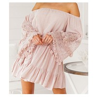 Sexy word shoulder lace stitching trumpet sleeves off-shoulder dress
