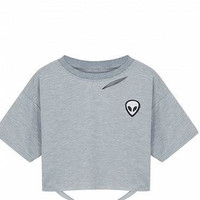 Gray Ripped Alien Print Short Sleeve Cropped T-Shirt