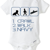 1. Crawl 2. Walk 3. Navy Silhouette - New Baby Gift: Gerber Onesuit brandbody suit - for a new mom or dad enlisted in the US NAVY