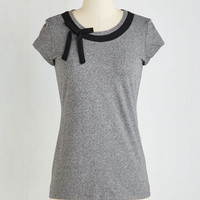 ModCloth Mid-length Short Sleeves Flawless in Wonderland Top in Charcoal