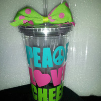 Cheerleader Tumbler - Peace Love Cheer - Personalized Tumbler