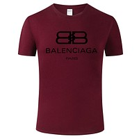 Balenciaga 2019 new double B printed letter round neck half sleeve T-shirt Burgundy
