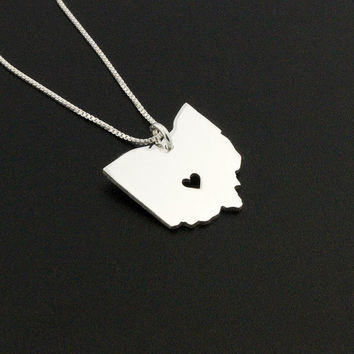 Ohio necklace sterling silver Ohio state necklace with heart comes with Box chain