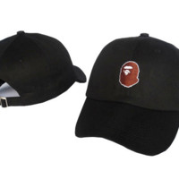 Black BAPE Embroidered Adjustable Cotton Baseball Cap Hat