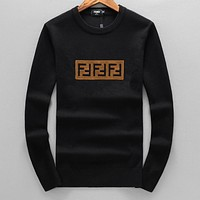 FENDI Popular Men Women Casual Long Sleeve Knit Sweater Sweatshirt Top Black