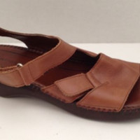 Naturalizer Sandals Womens Size 10 M Shoes Tan Brown Velcro Strap Adjustable