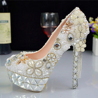 Flower Customized Tassle Crystal Heels For Wedding Party Evening Shoes