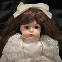 Gorgeous 16 Inch Long Hair Brunette Porcelain Doll With White Bow and White Gold Trim Lace Dress For Repair or Parts Missing a Leg - Edit Listing - Etsy