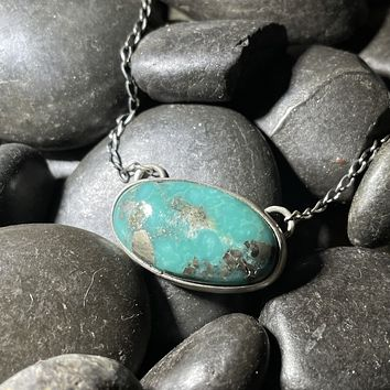 Small Oval Genuine Turquoise Necklace