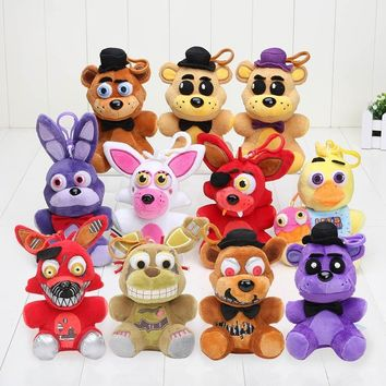 14cm  At Freddy  Freddy Fazbear Mangle Chica Bonnie Toys Plush Pendants Keychains Dolls Sister Location