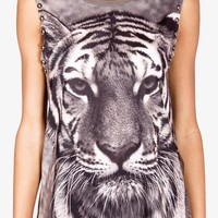 Studded Tiger Graphic Muscle Tee