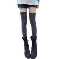 Grey Cotton Thicken Socks Over the Knee