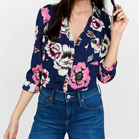 Original Fit Floating Floral Portofino Shirt from EXPRESS