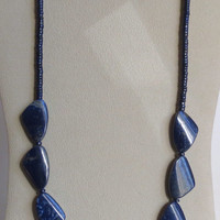Fantastic Blue Lapis Necklace with A Sterling Silver Clasp, Statteam