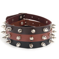 New Lady Women Punk Gothic Leather Choker Heart Chain Spike Rivet Buckle Collar Necklace