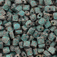 10 Cast 6mm square ornate pillow beads, green patina – StinkyDog Beads