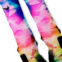 Rainbow Prism Lebron 11 Fast Shipping!! Nike Elite Socks Customized Lebron 11 Rainbow