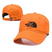 The North Face Fashionable Women Men Casual Embroidery Sports Sun Hat Baseball Cap Hat Orange