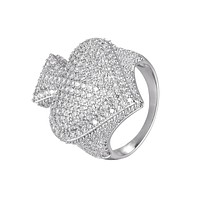 Mens Poker Playing Card Ace Of Spade Micro Pave Rapper Ring