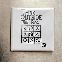 Think Outside The Box Magnet in Black and White
