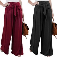 Fashion Womens Palazzo Pants High Waist Wide Leg Culottes Long Trousers Casual Loose Solid Bownot Pants Summer Clothing